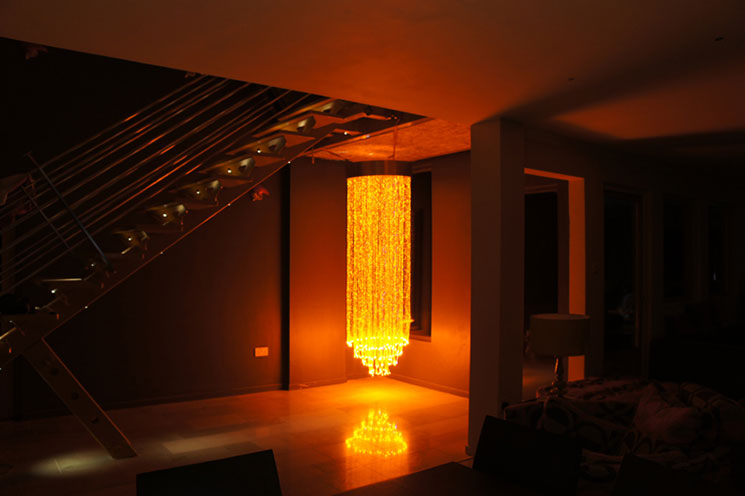 Ufo lighting fibre optic chandelier manufacture and design orange coloured fibre optic chandelier mozeypictures Images