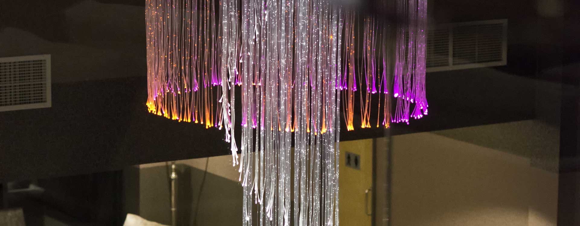 fibre optic chandelier in the inflite jet centre