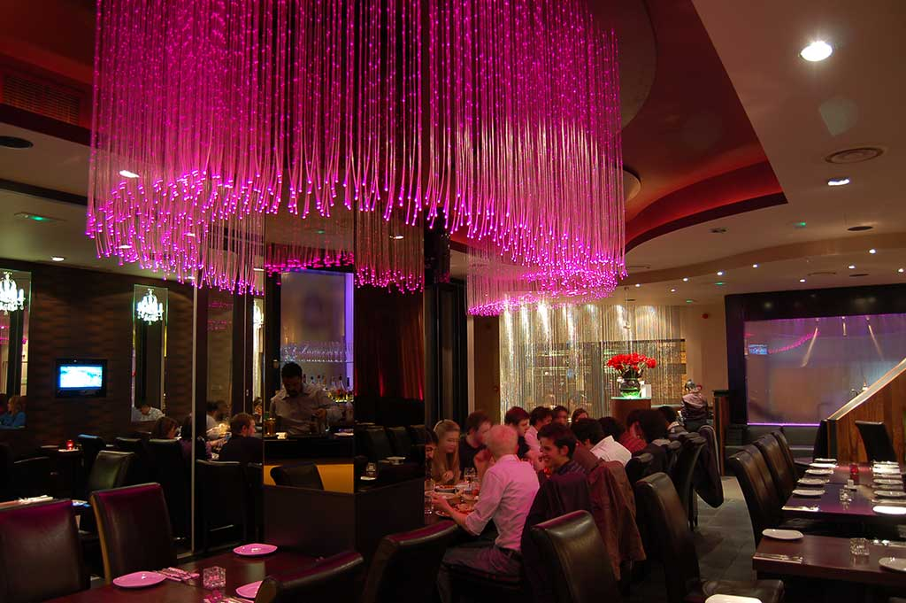 Ufo lighting fibre optic chandeliers fibre optic chandelier in the curry lounge restaurant aloadofball Choice Image