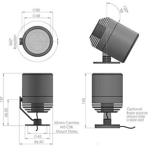 lm3 led fitting cad image