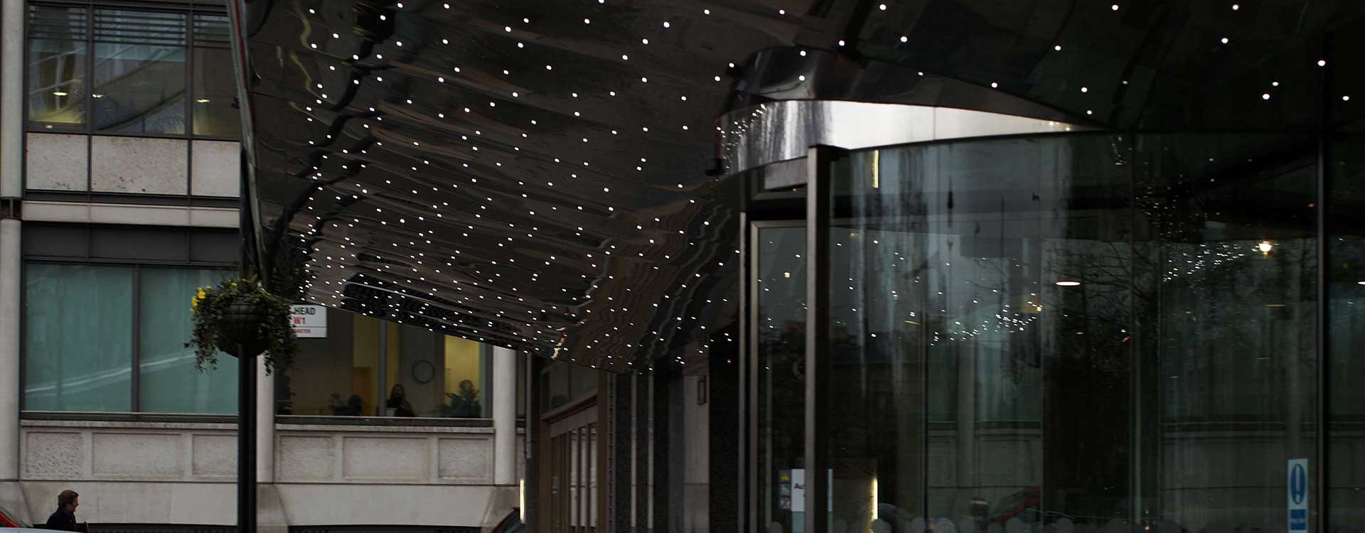 fibre optic lighting at the hilton, park lane