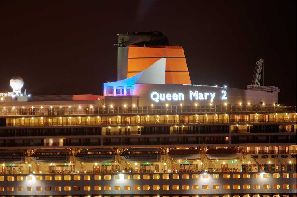 fibre optic lighting illuminating the name sign on rms queen mary 2